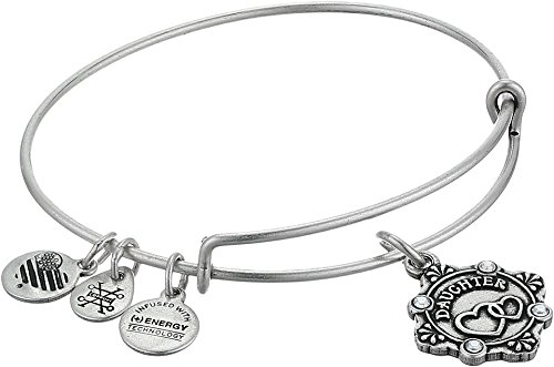 Alex and Ani Womens Because I Love You, Daughter Charm Bangle Bracelet, Rafaelian Silver, Expandable ()