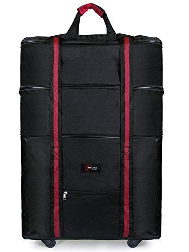 Expandable Wheel 4 Luggage (Beschan Waterproof Expandable Wheeled Oversized Travel Duffel Luggage Bag 33 Inch (BLACK))