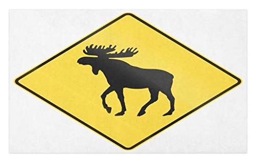 - Lunarable Moose Doormat, Canadian Road Traffic Warning Sign with Elk Crossing Solitary Animals Print, Decorative Polyester Floor Mat with Non-Skid Backing, 30 W X 18 L inches, Yellow and Black