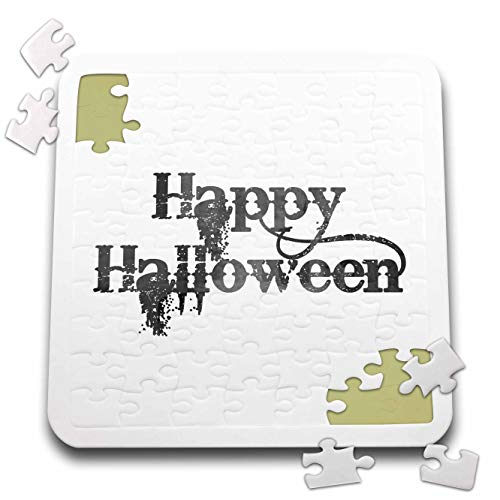 (3dRose InspirationzStore - Occasions - Happy Halloween Grunge Grungy Scary Writing Font Dark Grey Text - 10x10 Inch Puzzle)