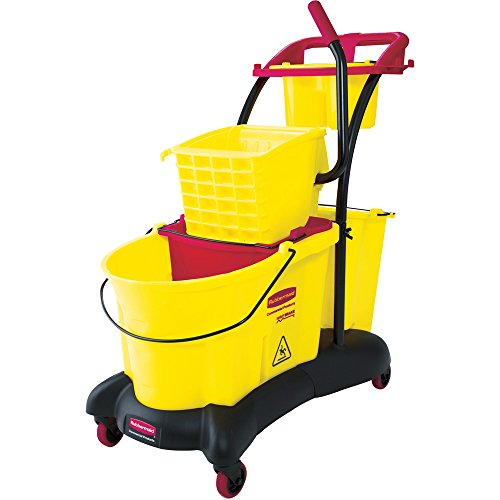 (Rubbermaid Commercial FG778000YEL WaveBrake Side Press Mopping Trolley, 8.75-Gallon Capacity, Yellow)
