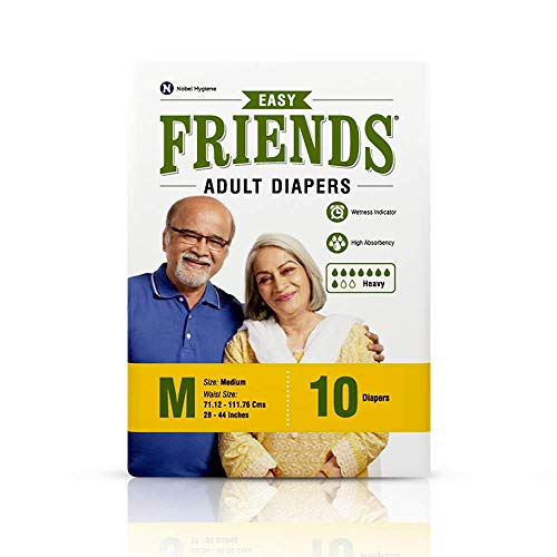 Friends Easy Adult Diapers Tape Style – 10 Count (Medium) with odour lock and Anti-Bacterial Absorbent Core- Waist Size…