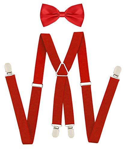 Red X-Shaped Back SuspendersBowtie Set Elastic Suspender with Bow Tie For Men Women