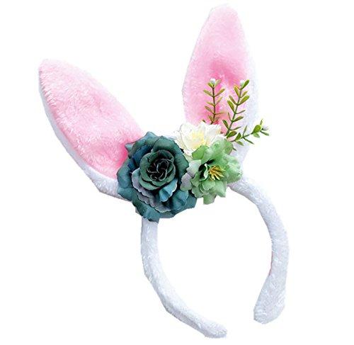 Floral Fall Rainbow Unicorn Horn Headband Girl Birthday Crown Headpiece DJ-03 (yBlue Rose Bunny) ()