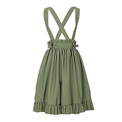 Green Suspender Skirt for Girls Lolita A-Line Pleated Skirts
