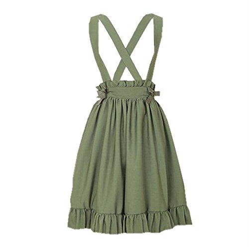 Packitcute Green Suspender Skirt for Girls Juniors High Waist Sweet Lolita A-Line Pleated Skirts (S)