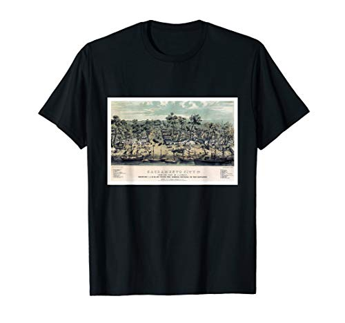 Antique Map of Sacramento City, California, 1850 T-Shirt