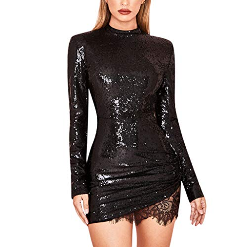 dumanfs Women's Sexy Sequins Bodycon Short Dress, Sparkle Long Sleeve Party Club Ruched Lace Patchwork Mini Dresses Black