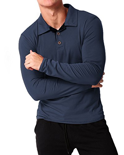 Cotton Long Sleeve Polo T-shirt (MODCHOK Men's Long Sleeve T-Shirt Cotton Polo Shirts Casual Button Collar Tee Tops Navy XL)