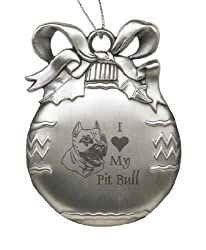 Solid Pewter Christmas Ornament - I Love My Pit Bull