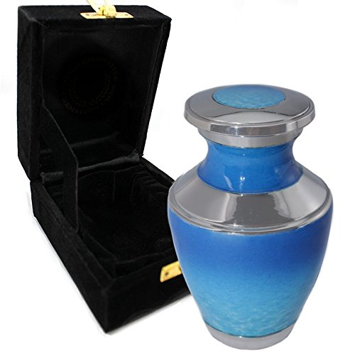 Ocean Tranquility Cremation Urns for Adult Ashes for Funeral, Burial, Niche or Columbarium, 100% Brass, Cremation Urns for Human Ashes Adult 200 Cubic inches (Ocean Tranquility, Small/Keepsake) ()