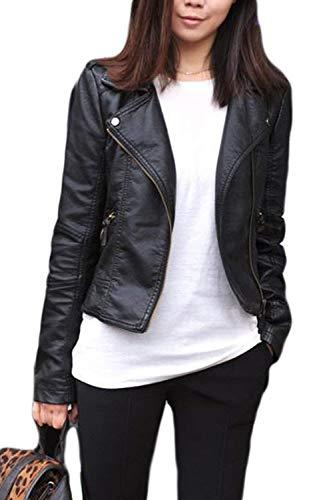 Giacca In Jacket Biker Lunga Similpelle Plus Eleganti Slim Di Prodotto Fashion Donna Casual Pelle Giacche Colore Vintage Cerniera Coat Con Nero Fit Puro Caftano Manica gRqv1pwB