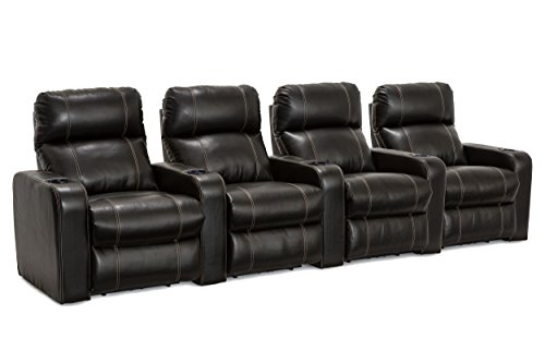 Lane Dynasty Black Bonded Leather Home Theater Seating Row of 4 (Large Image)