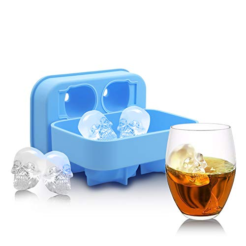 Ice Cube Tray - Halloween 3D Skull Silicone Ice Tray Freezes Cool your Drink Fast Food Grade Safe for Chilling Bourbon Whiskey, Cocktail, Beverages for Party -