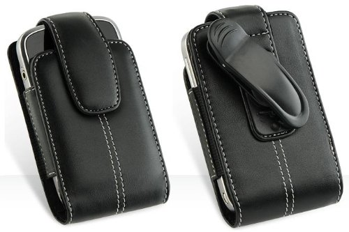Premium Executive High Quality Leather Pouch Protective Carrying Case Cover Holster with Belt Clip for Blackberry Tour 9630, Blackberry Storm 9530, 9500 / BlackBerry Bold 9000 / BlackBerry Cuve 8350 / BlackBerry Cuve 8350i / BlackBerry 8800 Series: 8800 / 8820 / 8830 / BlackBerry Storm 2 / Storm2 9550 Smartphone (Vertical Leather Pouch Carry Case Black) (8800 Blackberry Leather Case)