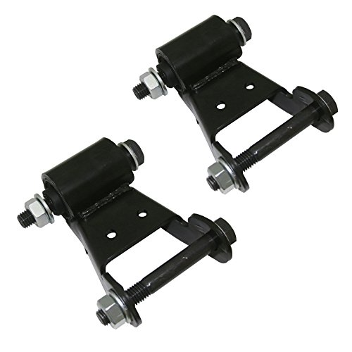 2pc Black Leaf Spring Shackle Kit (with Bolts/Washers / Nuts) Rear Position for 1999-2007 Chevrolet Silverado 1500 2500 3500, 1995-2000 Tahoe, 1999-2007 GMC Sierra 1500 2500 3500, 1995-2000 Yukon