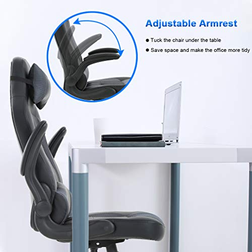 Gaming Chair Office High-Back PU Leather Racing Chair Reclining Computer Executive Desk Chair with Lumbar Support Adjustable Arms Rolling Swivel Chair for Women, Men(Grey) by BestMassage (Image #4)