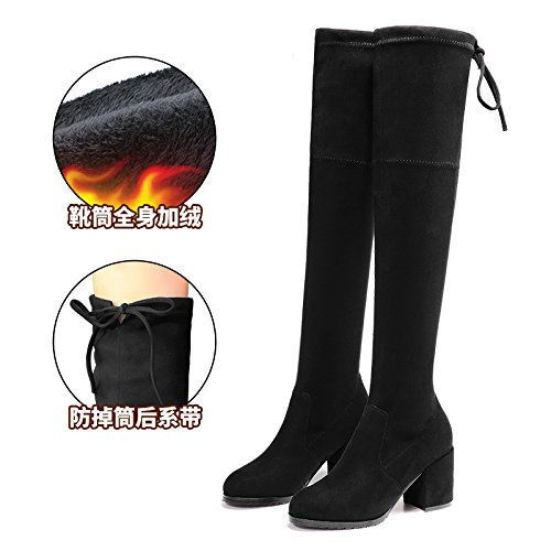 FLYRCX Winter high heel rauhe Ferse elastischer samt Wärme und Größe: rutschfeste Schuhe Europäische Größe: und 35-40  36 c2831a