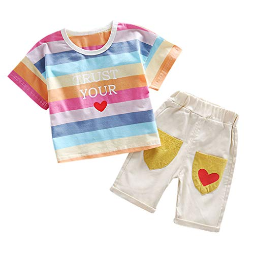 Pumsun ❤️ Cute 2PCS Set Toddler Baby Kid Rainbow Wing Stripe Tops T-Shirt Shorts Outfits Set (Pink, 90)]()