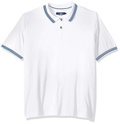 Stone Rose Men's Jersey Striped Collar Polo Shirt, White, Small