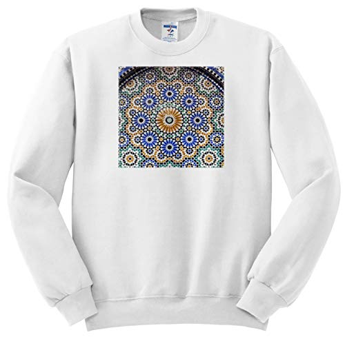 3dRose Danita Delimont - Abstracts - Morocco, FES. A Detail of a Mosaic Tiled Fountain. - Adult Sweatshirt 4XL (ss_310445_7)