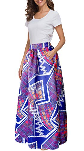 (Afibi Women African Printed Casual Maxi Skirt Flared Skirt Multisize A Line Skirt (Small, Pattern 5))