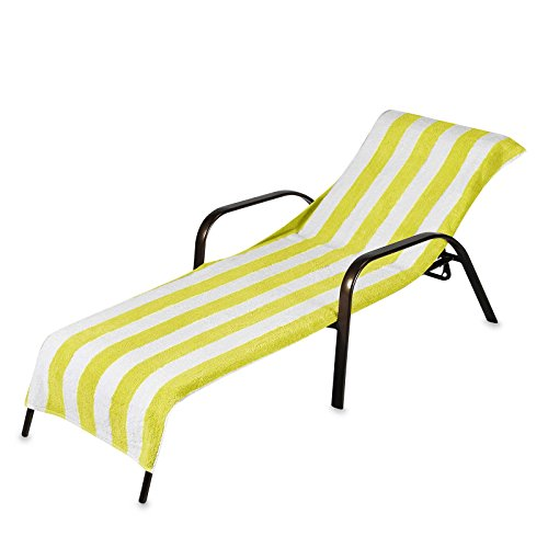 2 Pack Beach Towel Style Terry Stripe Pool Chaise Lounge Cover 28