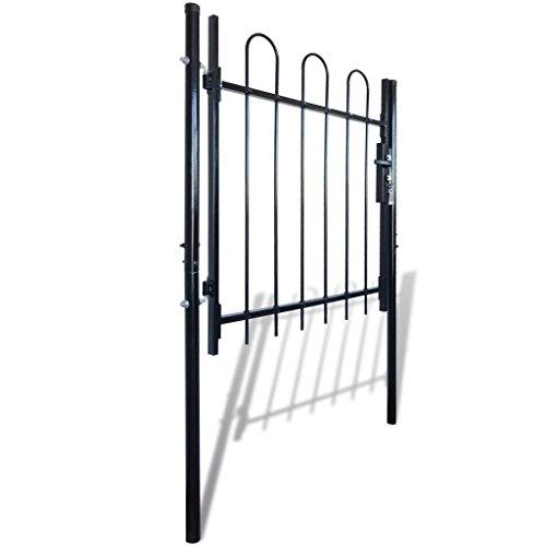 """Clever Market Outdoor Fence Gate Garden Durable Iron Gate Solid Metal Door Classic Patio Barrier Hoop Top 47.2"""""""