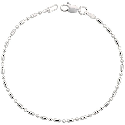 Sterling Silver Dot Dash Pallini Bead Ball chain Necklace 1.8mm Nickel free Italy, 18 inch