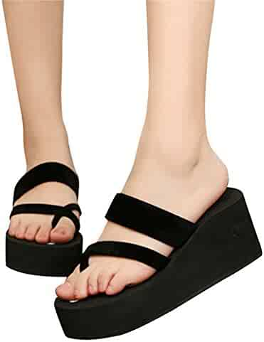 849450f5c81 C-Pioneer Women Summer Platform High Heel Flip Flops Wedges Slipper Girls  Sandals Beach Shoes