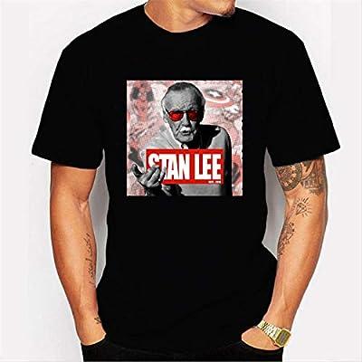 JJZHY El Padre de Marvel Stan Lee Camisa Negra de Manga Corta de ...