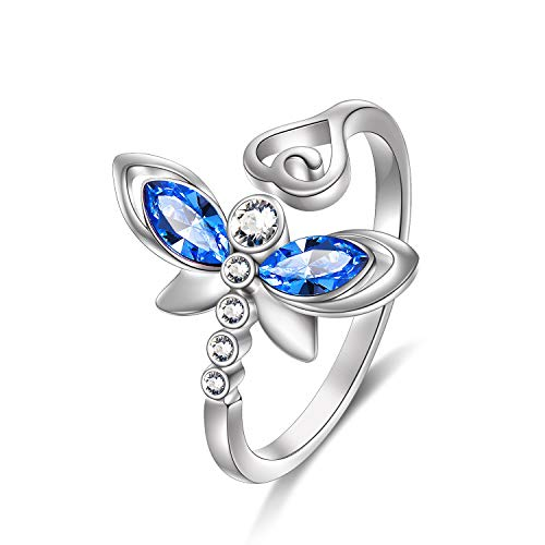 (AOBOCO 925 Sterling Silver Dragonfly Jewelry Gifts for Women Teen Girls Adjustable Wrap Open Dragonfly Rings Made with Created Light Sapphire Swarovski Crystals)