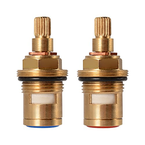 (XCSOURCE 1 pair Replacement Brass Ceramic Stem Disc Cartridge Faucet Valve Quarter Turn G1/2