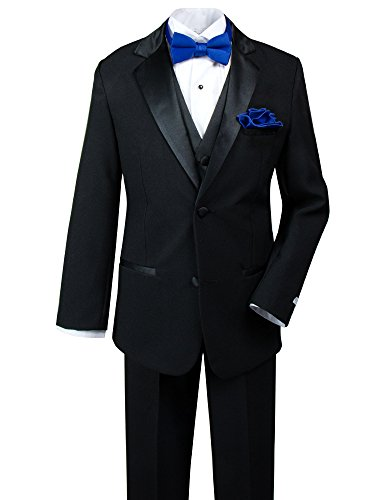 Spring Notion Big Boys' Tuxedo Set with Bow Tie and Handkerchief 10 Black-Royal Blue Complete Black Tuxedo