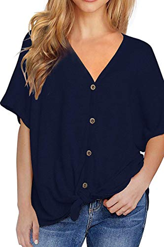 fitglam Women's Waffle Knit Henley Shirt Casual Short Sleeve Blouse V Neck Button Down Front Tie Tops, Navy Blue -