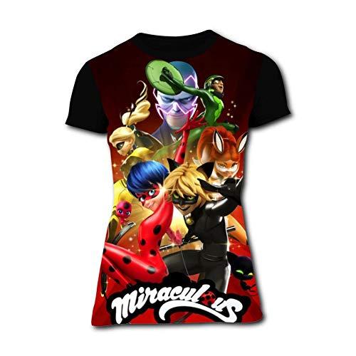 Women's Shirts Miraculous Lady-Bug Womens Short Sleeve T-Shirts Girls Tee Shirt Summer Tops Black