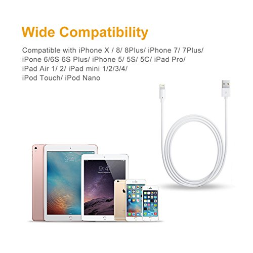For iPhone Charger Cable BUDGET & GOOD 8 Pin Lightning to USB Cable 3 Pack 6ft Certified iPhone Charging Cord for iPhone X 8 8 Plus 7 7 Plus 6s 6s Plus 6 6 Plus SE 5s 5c 5 iPad iPod White by BUDGET & GOOD (Image #6)