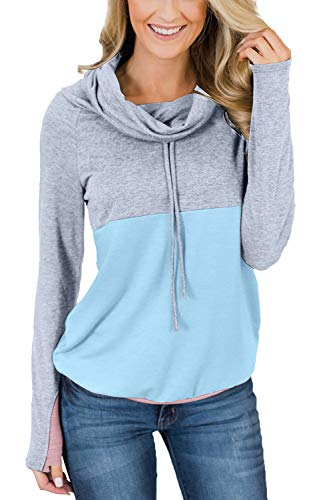 Sovoyontee Women's Colorblock Cowl Neck Drawstring Pullover Sweatshirt Top with Pocket Light Blue 2XL (Difference Between Relaxed Fit And Regular Fit Jeans)
