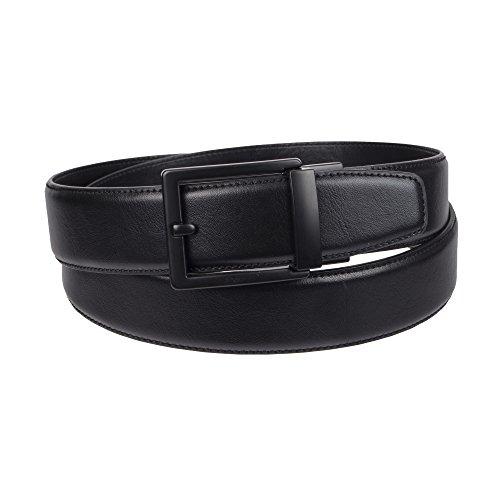 Weatherproof Men's Adjustable Comfort Fit Trackless Slide Belt, Black/Gunmetal Buckle, Small (30-32) (Belt Gold Dress Mens)
