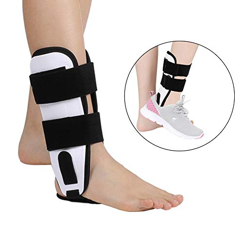 ZJchao Ankle Brace, with 3-Dimensional Molded Pads Adjustable Ankle Stirrup Splint for Foot Drop, Torn ligaments, Post-Op Cast Support and Injury Protection Rigid Stabilize Support ()