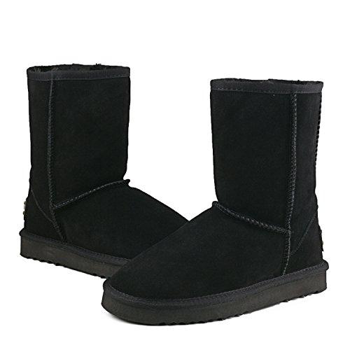 Shenduo Herren Wasserdicht Winterstiefel Schlupfstiefel Leder Boots D5625 Schwarz 44