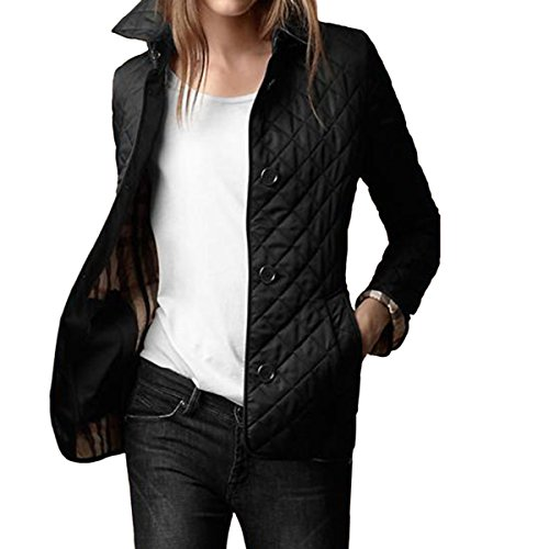 E.JAN1ST Women's Diamond Quilted Jacket Stand Collar Button End With Pocket Coat, Black, (Womens Quilted Button)