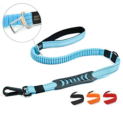 Petvins Heavy Duty Bungee Dog Leash for Large Medium Dogs - 5 Ft Reflective Dog Shock Absorbing Training Leash with Double Traffic Handles - Dog Car Seat Belt - Strong Climbing Rope, Blue