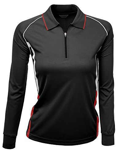 Womens Coolon fabric zip up point long sleeve 2 tone Collar Shirt BLACK Size (Two Tone Collar)