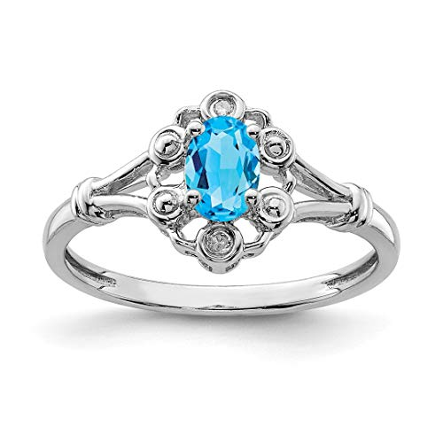 925 Sterling Silver Swiss Blue Topaz Diamond Band Ring Size 9.00 Birthstone December Gemstone Set Fine Jewelry For Women Gift Set -