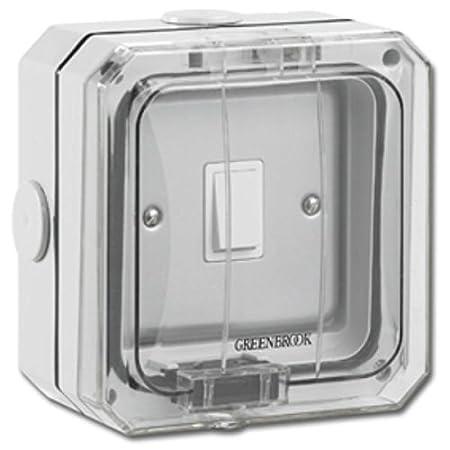 greenbrook pxc1gsw c weatherproof light switch 1 gang 2 way ip66