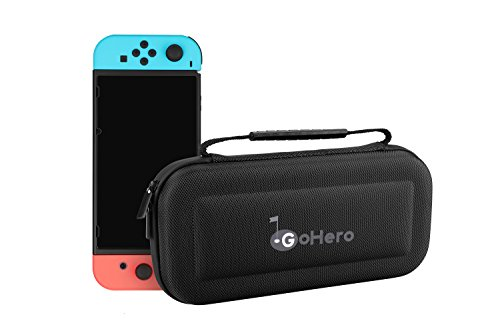 GoHero Nintendo Switch Carrying Case | Portable Hard shell Travel Case Bag for Nintendo Switch Gaming Console (Black)