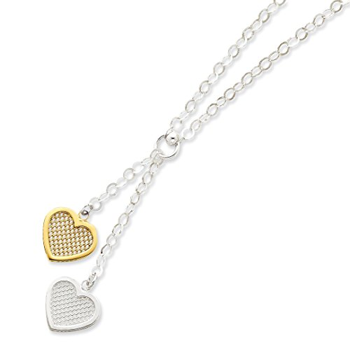 925 Sterling Silver Vermeil Heart Chain Necklace Pendant Charm S/love Fine Jewelry Gifts For Women For ()
