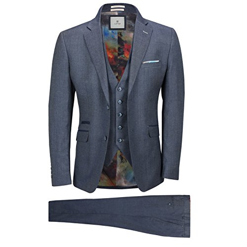 Mens Blue Grey Classic 3 Piece Suit Formal Work Smart Casual Tailored Fit Jacket[Steele,Bluish Grey,UK/US 42 EU 52,Trouser (Smart Classic Suit)