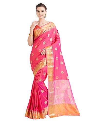 Viva N Diva Sarees for Women's Banarasi Party Wear Shaded Pink Colour Banarasi Art Silk Saree with Un-Stiched Blouse Piece,Free Size ()